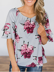 Summer  Polyester  Women  Round Neck  Flounce  Floral Printed  Bell Sleeve Short Sleeve T-Shirts