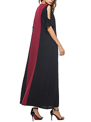 Open Shoulder  Patchwork  Color Block Maxi Dress