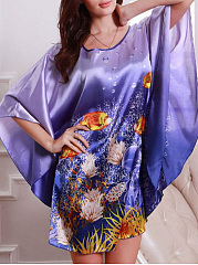 Fish-Printed-Dark-Blue-Batwing-Sleeve-Nightgown
