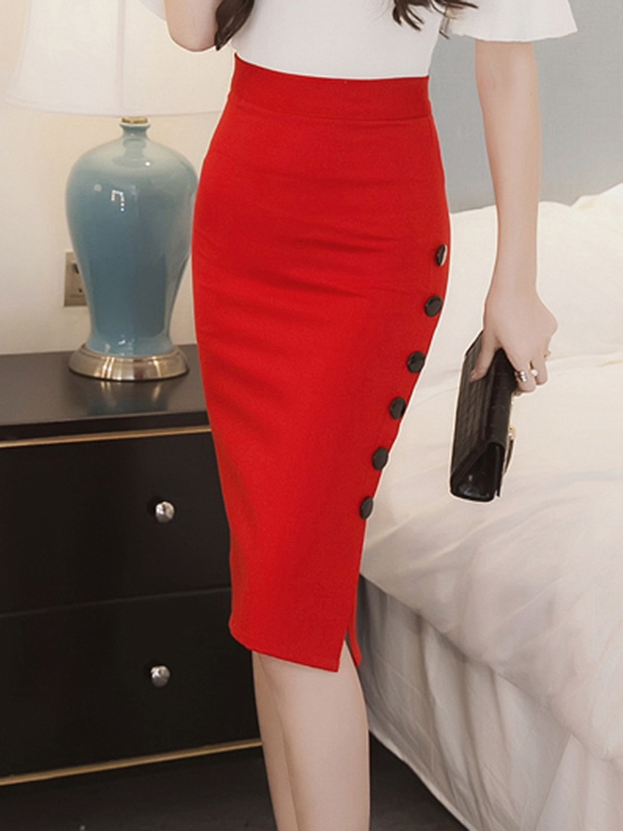 Single Breasted Slit Plain Pencil Midi Skirt