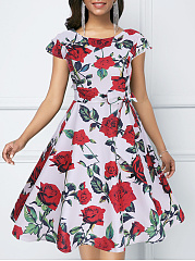 Round Neck  Bowknot  Belt  Floral Printed Skater Dress