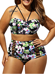 Spaghetti Strap  Floral Printed Three-Piece Plus Size Swimwear