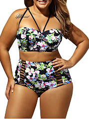 Floral Printed Two-Piece Plus Size Swimwear