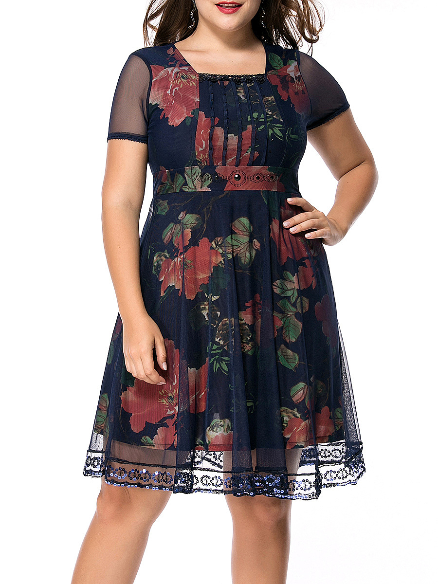Square Neck Sequin Hollow Out Floral Printed Plus Size Flared Dress