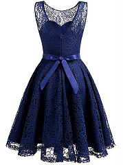Round Neck Bowknot See-Through Belt Lace Skater Dress