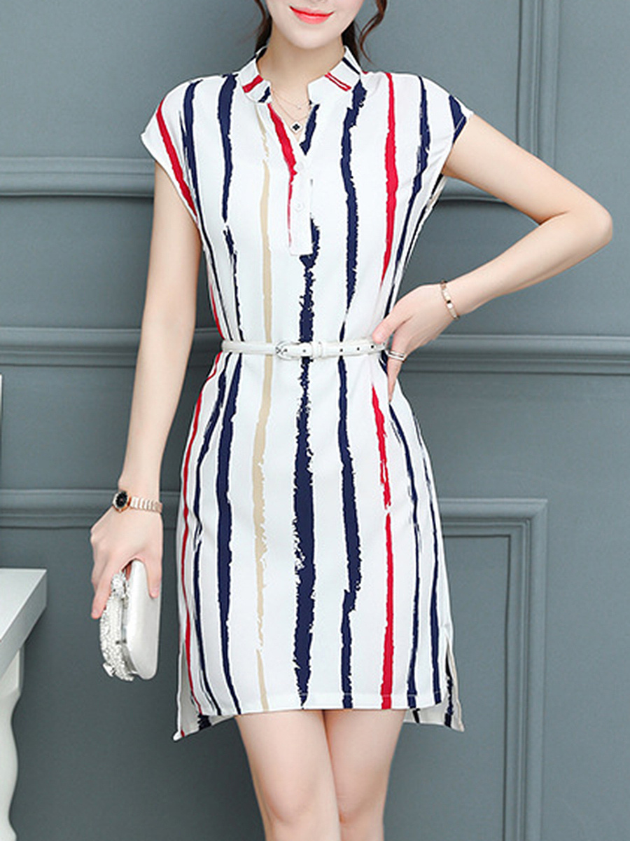 Split Neck  Belt  Asymmetric Stripe Bodycon Dress