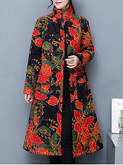 Band Collar Tribal Printed Flap Pocket Quilted Long Coat