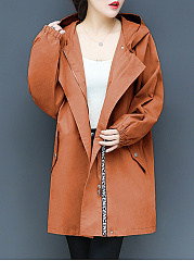 Hooded  Elastic Waist  Plain Trench Coat