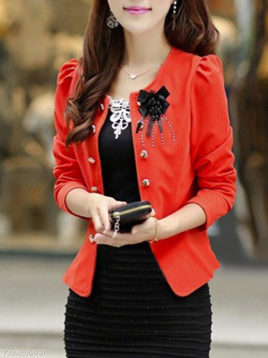Collarless Decorative Button Brooch Blazer