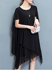 Summer Cape Sleeve Asymmetric Hem Chiffon Shift Dress