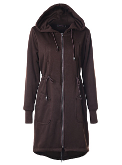 Hooded  Drawstring  Plain  Long Sleeve Coats