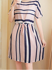 Round Neck Drawstring Striped Skater Dress