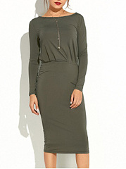 Round Neck Plain Midi Bodycon Dress