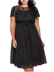 Round Neck  Decorative Lace Elastic Waist  Hollow Out Plain Plus Size Midi & Maxi Dress