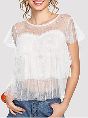 Summer Mesh Women Round Neck Beading See-Through Plain Blouses