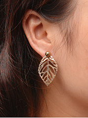 Gold Hollow Out Leaf Earrings