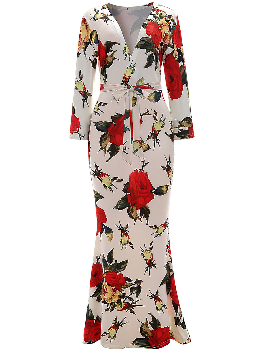 Sexy V-Neck Floral Printed Mermaid Maxi Dress