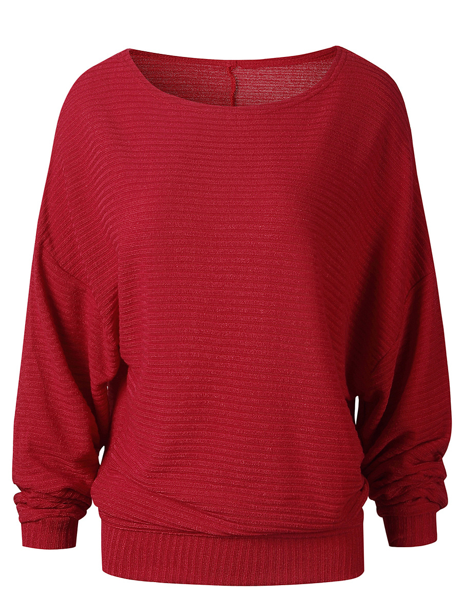 Plain Round Neck Batwing Sleeve Pullover