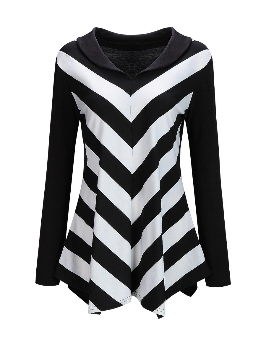 Autumn Spring  Blend  Women  V-Neck  Asymmetric Hem  Color Block Striped  Long Sleeve Long Sleeve T-Shirts
