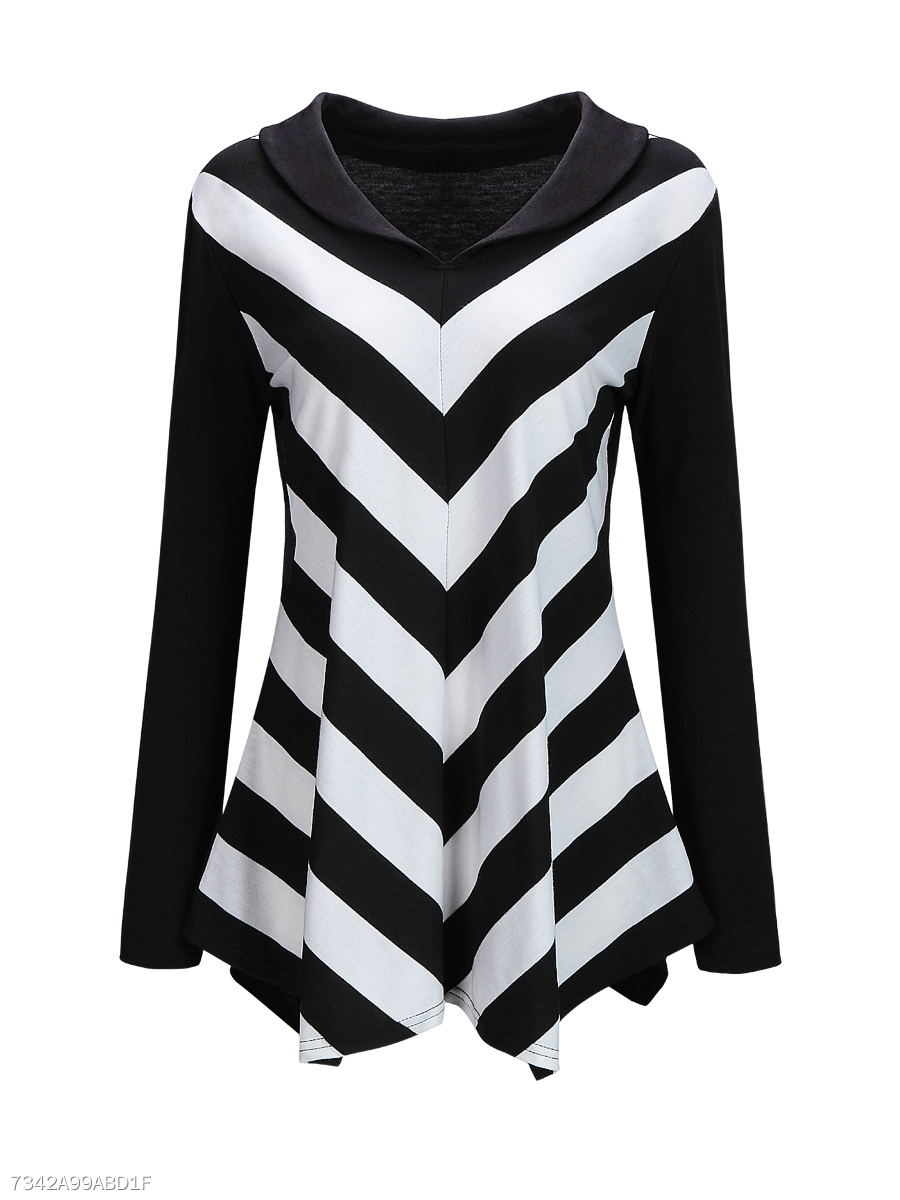 Autumn Spring  Blend  Women  V-Neck  Asymmetric Hem  Color Block Striped Long Sleeve T-Shirts