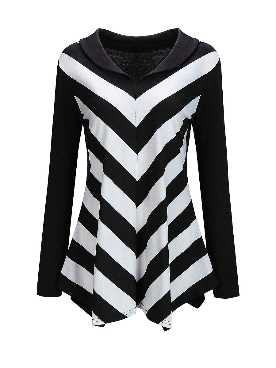 V-Neck Asymmetric Hem Color Block Striped Long Sleeve T-Shirt