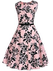 ... Delightful Floral Printed Round Neck Belt Skater Dress ...