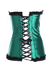 Women Sexy Jacquard Lace Up Corset Waist Body Shaping Training Satin Overbust Bustier