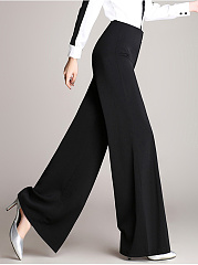 Plain  Wide-Leg  High-Rise Casual Pants