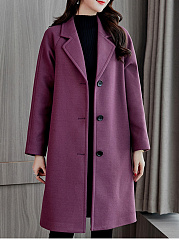 Notch Lapel  Single Breasted  Plain  Long Sleeve Coats