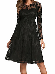 Round Neck Lace See-Through Plain Skater Dress