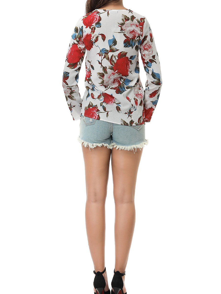 Autumn Spring  Polyester  Women  V-Neck  Floral Printed Long Sleeve T-Shirts