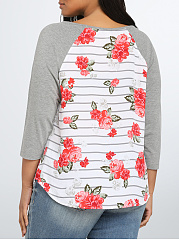 Round Neck  Printed  Raglan Sleeve  Long Sleeve Plus Size T-Shirts