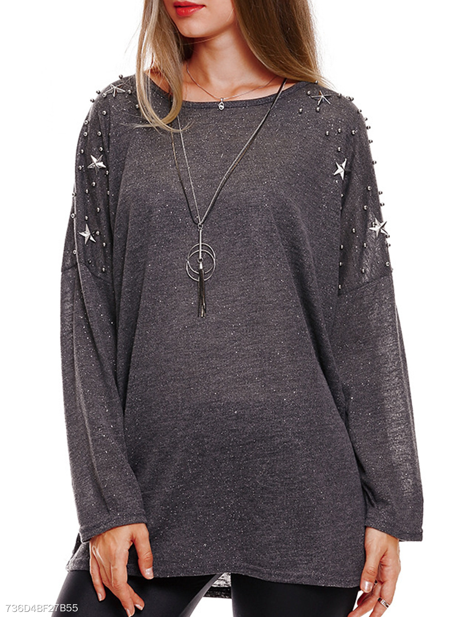 Round Neck  Beading  Plain  Batwing Sleeve Knit Pullover