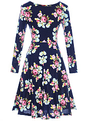 Casual Round Neck Floral Printed Skater Dress
