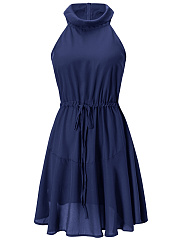 Halter  Drawstring  Plain Skater Dress