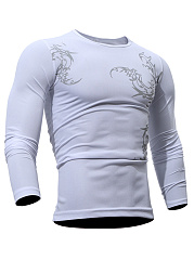 Round Neck Printed Long Sleeve Men T-Shirt