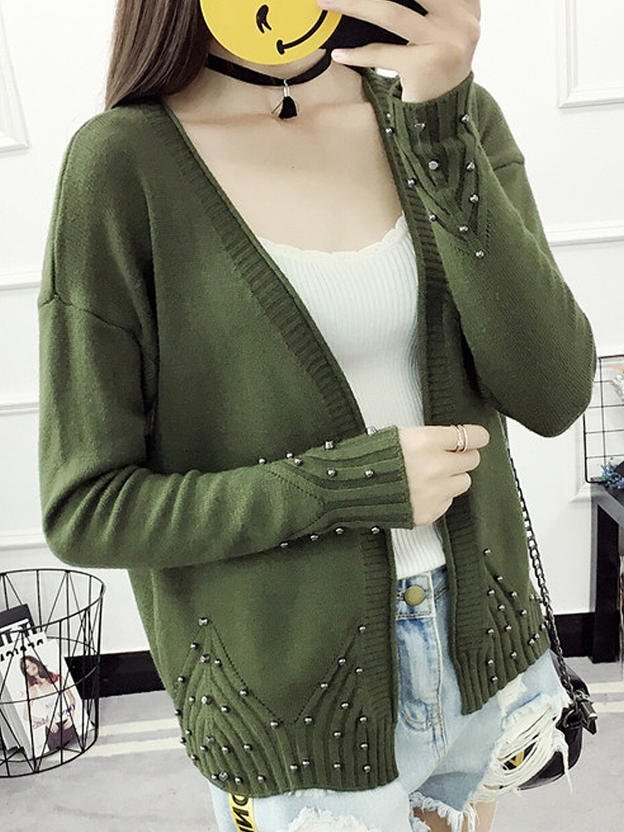 Beading  Plain  Long Sleeve Cardigans