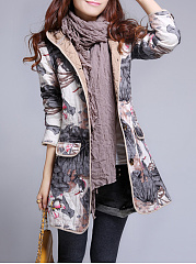 Hooded  Flap Pocket  Printed Longline Coat