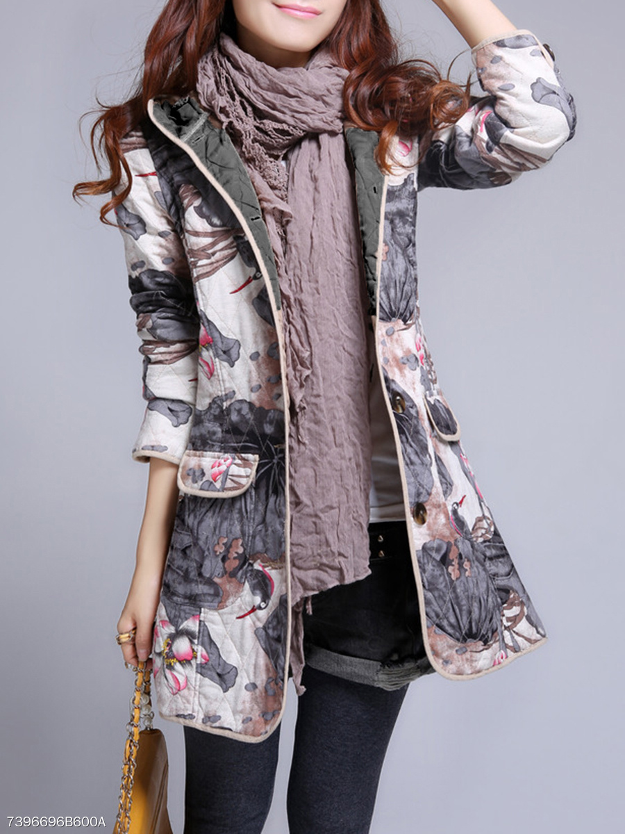 Hooded  Flap Pocket  Printed  Long Sleeve Coats