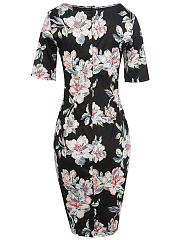 Round Neck Floral Printed Half Sleeve Bodycon Dress