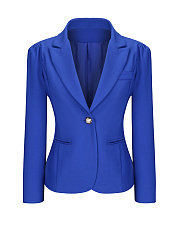 Single Button Notch Lapel Plain Plus Size Puff Sleeve Plus Size Blazer