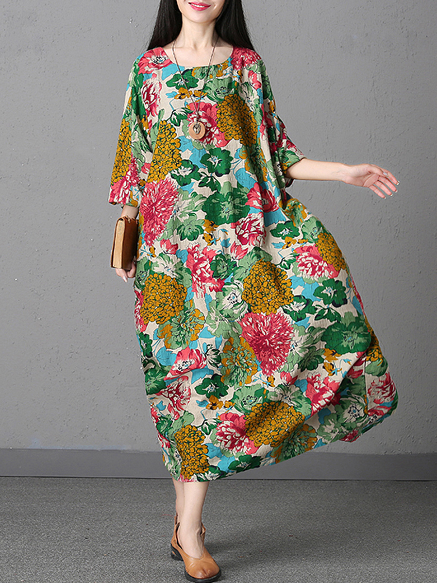 Oversized Round Neck Floral Printed Slit Maxi Dress