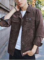 Lapel-Flap-Pocket-Single-Breasted-Plain-Men-Jacket