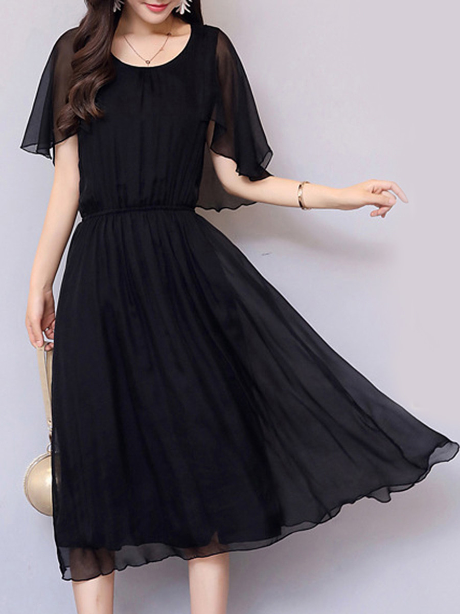 Round Neck Ruffle Sleeve Plain Elastic Waist Maxi Dress