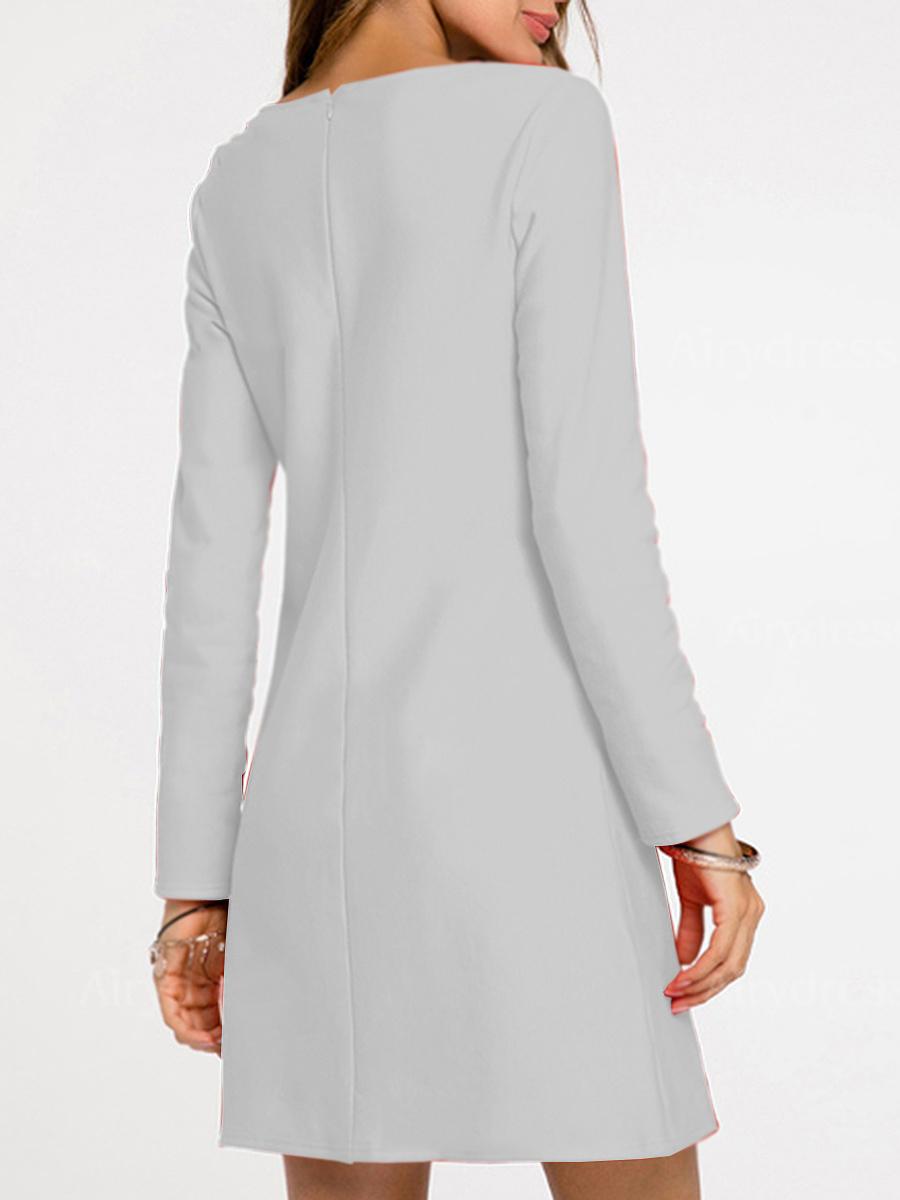 Round Neck  Bowknot Patch Pocket  Plain Shift Dress