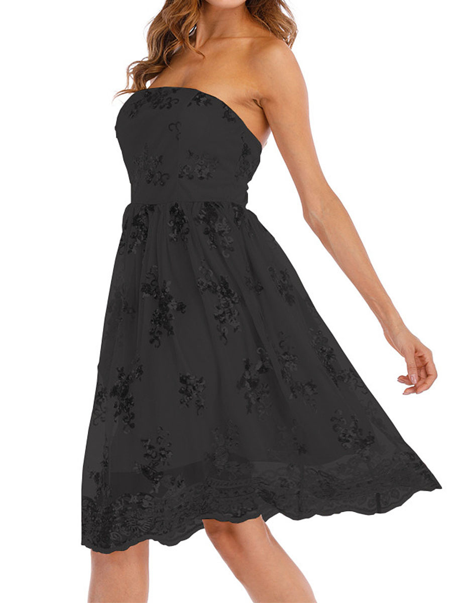 Strapless  Glitter  Hollow Out Plain Skater Dress