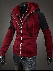 Hooded  Color Block Men Coat