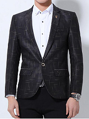 Men-Printed-Single-Button-Vented-Notch-Lapel-Blazer