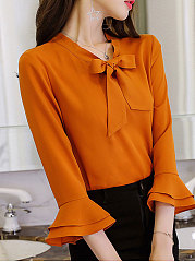 Spring Summer  Polyester  Women  Tie Collar  Plain  Bell Sleeve  Three-Quarter Sleeve Blouses