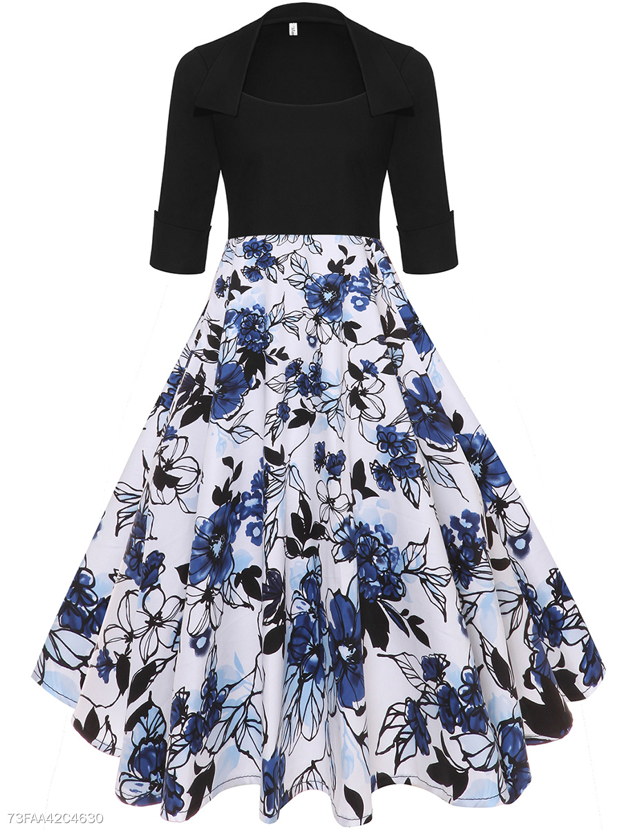 Sweet Heart Floral Printed Cotton Midi Skater Dress